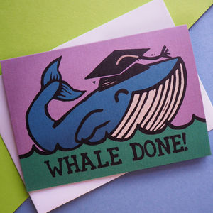 Whale Done Animal Pun Graduation Funny Card