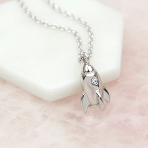 Sterling Silver And Crystal Rocket Necklace