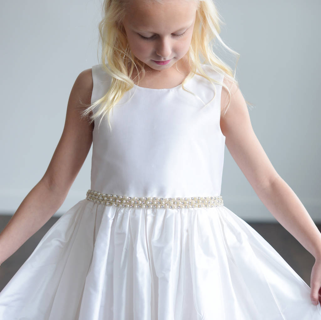 Ivory Silk Or White Satin Flower Girl Dress By Gilly Gray