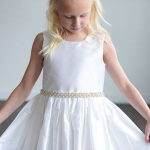 Ivory Silk Or White Satin Flower Girl Dress
