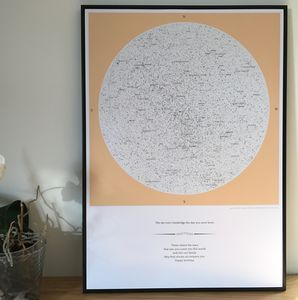 Classic Colours Personalised Map Of The Stars Print - shop by subject