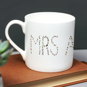 Bee And Floral Letter Personalised Mug