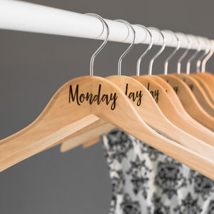 Days Of The Week Wooden Coat Hangers