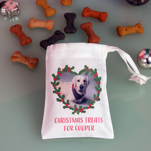 Personalised Christmas Bag Of Dog Treats - food, feeding & treats