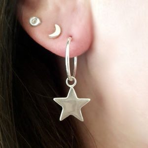 Sterling Silver Star Hoop Earrings - earrings