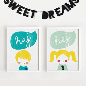 'Hej' Hello In Danish Print Set