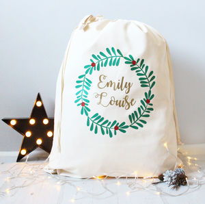 Sparkly Berry Wreath Christmas Sack - stockings & sacks