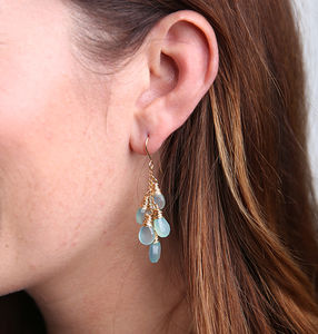 Aqua Chalcedony Waterfall Earrings