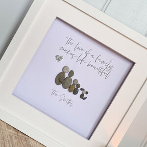 'The love of a family' Personalised Pebble Art