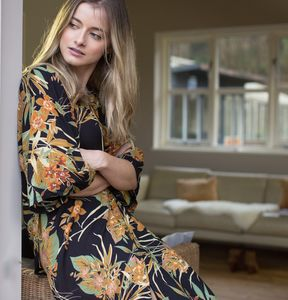 Personalised Black To Umber Tropical Print Kimono