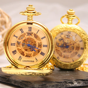 Engraved Gold Pocket Watch Intricate Design - watches
