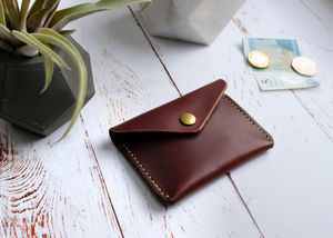 Italian Leather Button Wallet Brown