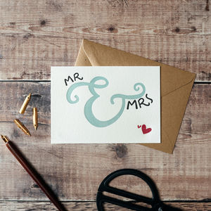Mr And Mrs Letterpress Wedding Card - wedding cards & wrap