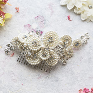 Amelia Crystal And Silver Pearl Hair Comb