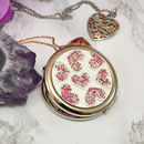Engraved Compact Mirror Hearts Design