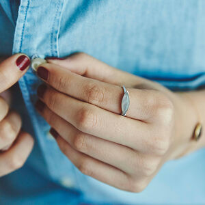 Fearne X Carrie Silver Stacking Ring In Labradorite