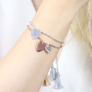 Personalised Double Heart Dainty Links Bracelet