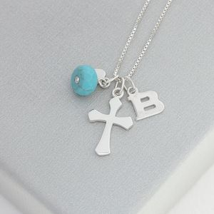 Personalised Silver Cross With Birthstones - necklaces