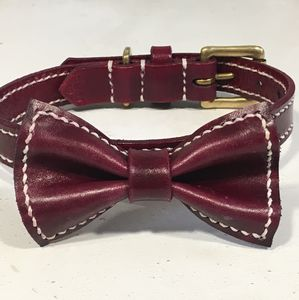 Personalised Full Stitched Bow Tie Leather Dog Collar