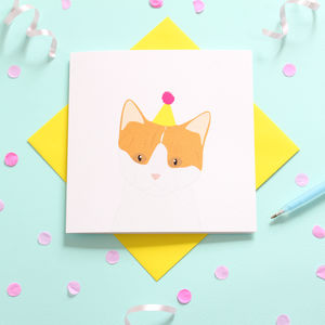 Ginger And White Cat, Birthday Card