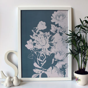 Teal Blue And Cream Natural Floral Print - nature & landscape