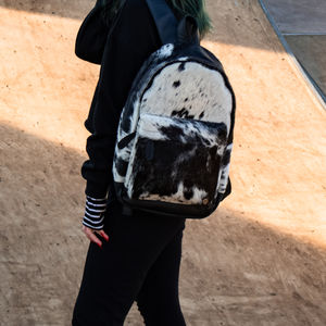 Cowhide Leather Classic Backpack In Black And White