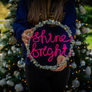 Personalised Fairy Light Wreath Two Lines