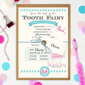 Personalised Tooth Fairy Certificate