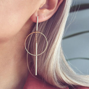 Iona. Minimal Geometric Gold Drop Earrings