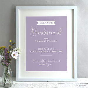 Bridesmaid Personalised Gift Print - dates & special occasions
