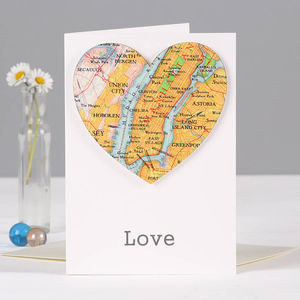 Personalised Map Location Heart Valentines Card - new home cards