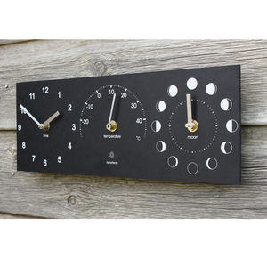 Eco Recycled Moon Phase, Outdoor Clock And Thermometer - garden