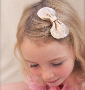 Girls Leather Bow Hair Clip Rose Gold
