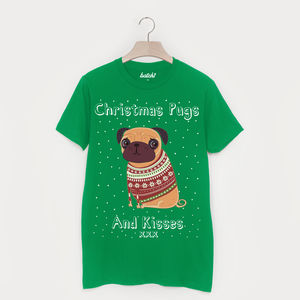 Pugs And Kisses Men's Christmas T Shirt