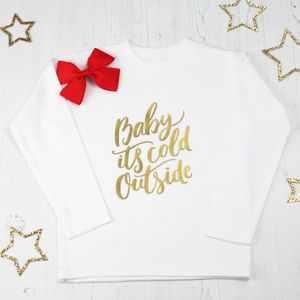 Girls Christmas Top With Red Hair Bow - baby & child christmas clothing