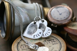 Fingerprint Petite Double Heart Necklace - necklaces & pendants
