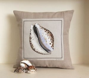 Hand Painted Cowrie Shell Cushion - cushions