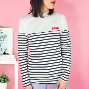Personalised 'Year' Long Sleeve Striped Unisex Top