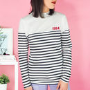 Personalised Year Long Sleeve Striped Unisex Top