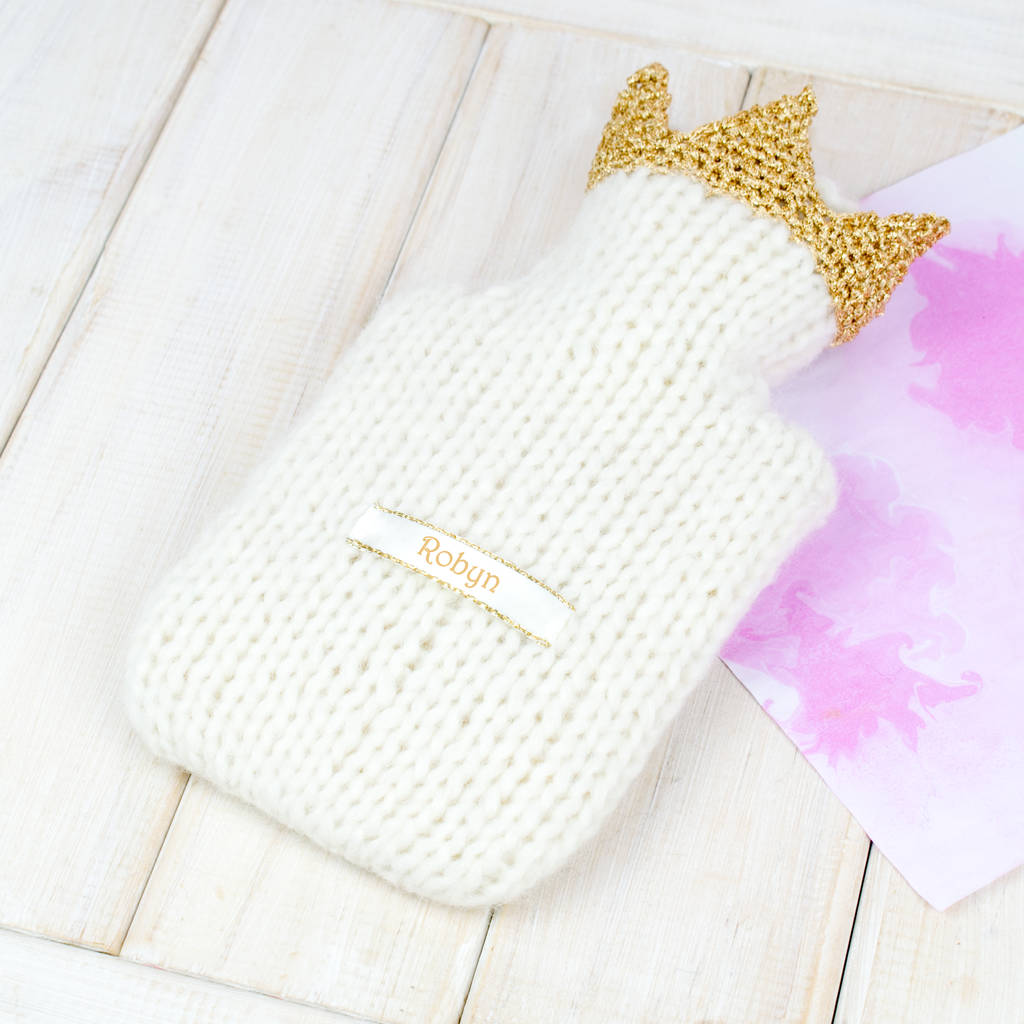 Children's Personalised Crown Mini Hot Water Bottle