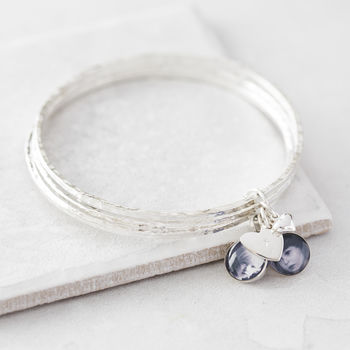 Personalised Silver Photo Charm Bangles