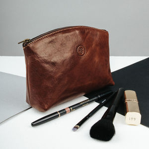Personalised Maid Of Honour Leather Cosmetic Bag 'Chia'