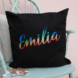 Holographic Rainbow Name Cushion - children's room