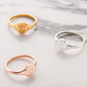 Personalised Monogrammed Signet Ring - rose gold jewellery