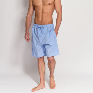 Men's Blue And White Striped Pyjama Shorts - men's fashion