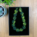 Chunky, Fabric Covered, Bead Necklace 'Fern'