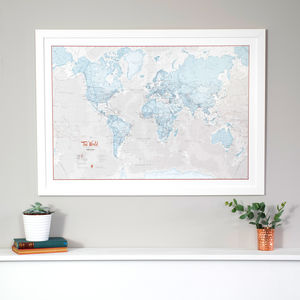 Large framed world map map of the world art print gumiabroncs Choice Image