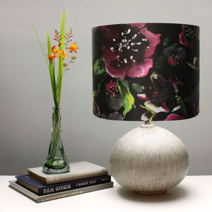Midnight Floral Botanical Lampshade - bedroom