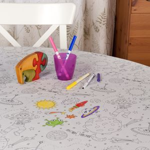 Spaceman Adventure Colour Me In Tablecloth - tablecloths