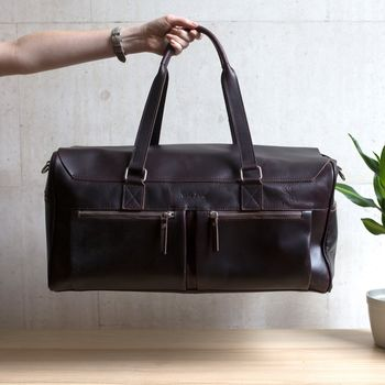 Leather Holdall Weekender '' Marron ''